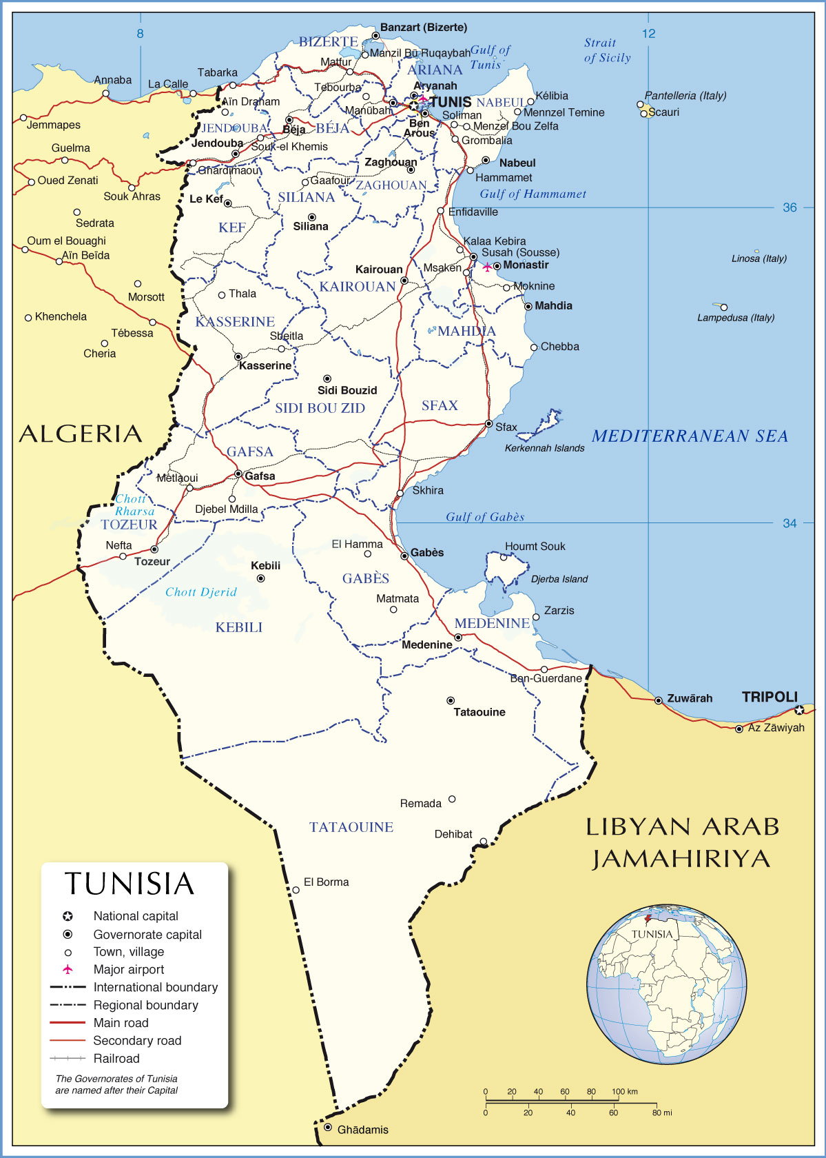 THE NEW INSURGENCIES AND MASS UPRISINGS IN AFRICA AND - Tunisia cities small scale map