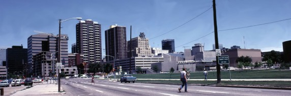 1982 photo of downtown Denver, taken from the Auraria Higher Education Complex where Metro State College is located...