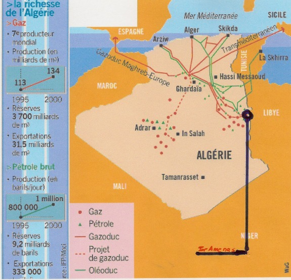 Algeria - Oil and Gas Pipelines - (In-Amenas circled)