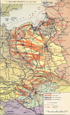 The Soviet Military Offensive gaining ground in the summer of 1944, pushing the Nazi armies back towards Germany.World War II - Jan - April 1945 - 2