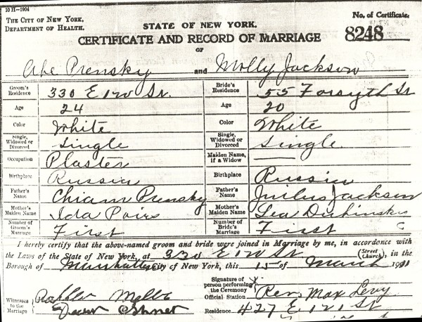 1911 - March 15 - Abe Prensky - Molly Jackson Marriage Certificate