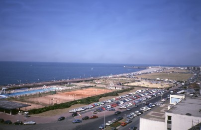 the main beach at Dieppe, from the Chateau; photo from 1989. It was on this beach that the main force landed and was cut to pieces.