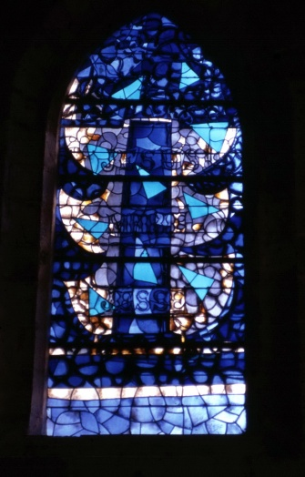 A stain glass window at the church in Varangeville-sur-mer, just south of Dieppe, another target of the raid. (1)