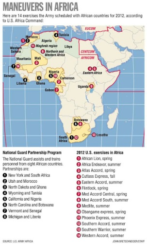 THE U.S. military is involved in 49 AFrican countries, 27 of which are highlighted here