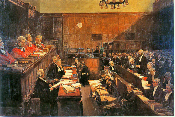 Painting of the treason trial of Roger Casement. Downloaded from the blog