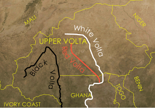 The main sources of the Volta River are all in Burkina Faso; they merge in Ghana (south, beyond the view of this map)