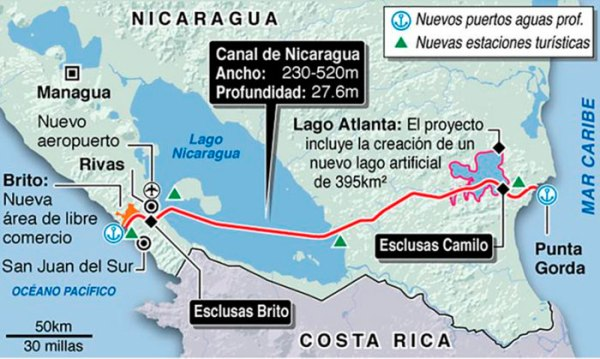 Nicaragua - Proposed Canal Route