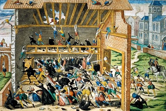 Vassy Massacre, led by the Duke of Guises, of Protestants at Vassy. It triggered a fierce round of open warfare between French Catholics and Protestants. Print by Hogenburg, end of 16th century