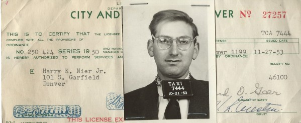 In order to help pay his way through law school, Harry Nier drove a cab...and thus was part of a tradition of radical Denverites who did a stint at the cab company. This is a copy of his cab driver's license. It is dated 1953