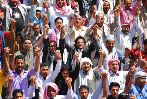 Yemeni people  in 2011, demonstrating peacefully for economic and social reform.