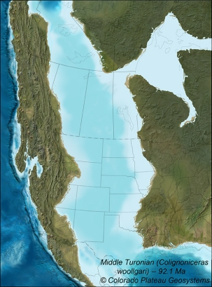 North American Cretaceous Interior Seaway 90 million years ago