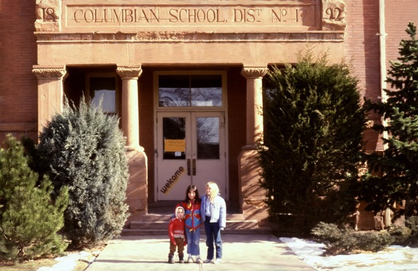 January, 1985. Entrance to Columbian School (40th and Federal, Denver) before it was renovated into a much worse, less functional building...From left to right: Abbie Prince, Molly Prince, Bethany Frisbee