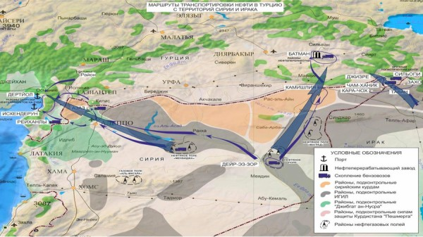 Russian map of ISIS oil transit routes - They all lead through Turkey