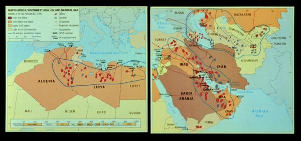 Middle East - North Africa oil and natural gas deposits