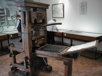 Gutenberg Press. a century after its initial use (1450) such presses could produce up to 240 impressions per hour