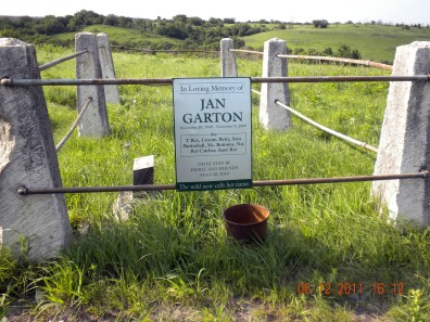 Jan Garton's ashes are strewn here at the Birdrunner Wildlife Refuge, Lower McDowell Creek - east of Junction City Kansas