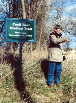 Jan Garton at the Cecil Best Birding Trail dedication. November, 2000
