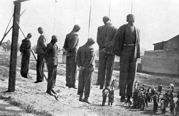 "Polish hostages hanged by the Nazis near the Płaszów-Prokocim train station in Crakow, Poland, June 26, 1942. Burleigh's descriptions of the Nazi onslaught in Poland is one of the best, if most painful, chapters of ""Moral Combat"""