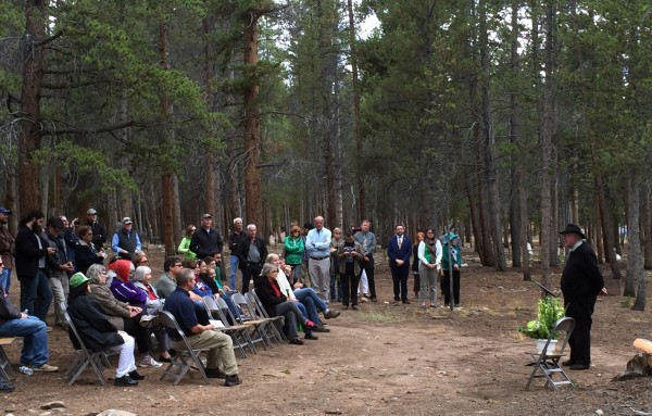 former Denver City Auditor, Dennis Gallagher addressing an audience at Everygreen Cemetery in Leadville, Colorado, where, on October 3, 2016, those present held a wake for those 1500 to 2000 buried in unmarked graves, some three-fourths of them estimated to have been Irish miners, average age 23. Gallagher's remarks were genuinely touching.