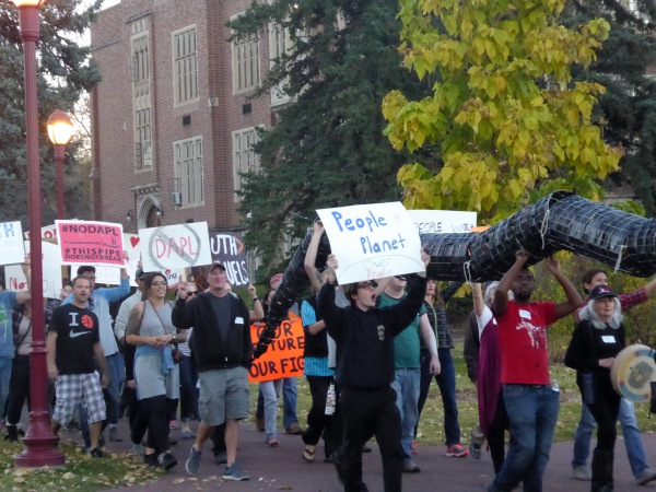 some of the 1000 or so students, faculty and community members that protested the meeting of national pipeline executives that took place on the University of Denver Campus. Main theme of the demonstration - No to the Dakota Access Pipeline...although there were signs and banners about everything that matters.