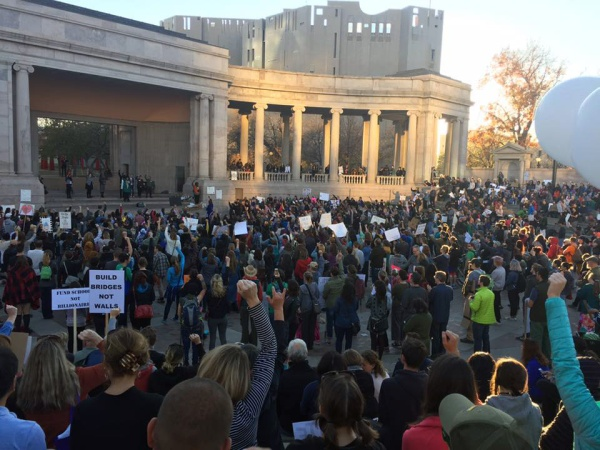 Denver's Civic Park on Sunday, November 14, 2016; 1000 people gather to oppose Trump's policies