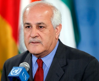 Security Council stakeout: Riyad H. Mansour, Permanent Observer of Palestine to the UN, speaks to reporters at stakeout on Palestine matters.