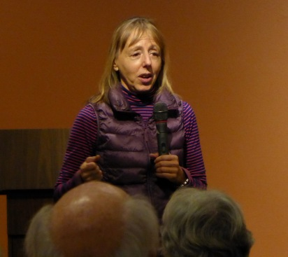 Medea Benjamin, co-founder of Code Pink, critic of U.S. Middle East wars, speaking in Denver in December, 2016
