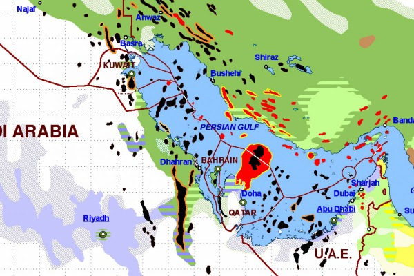 oil fields in black, natural gas fields in red