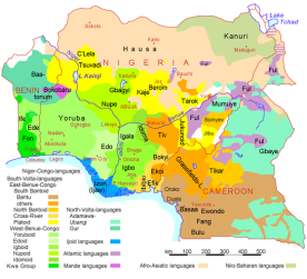 This map is quite cursory; it includes major language groups of three countries, Benin (on the left), Nigeria (center), and Cameroon on the right. But even this cursory map gives a sense of the great linguistic diversity in the country and the region as a whole