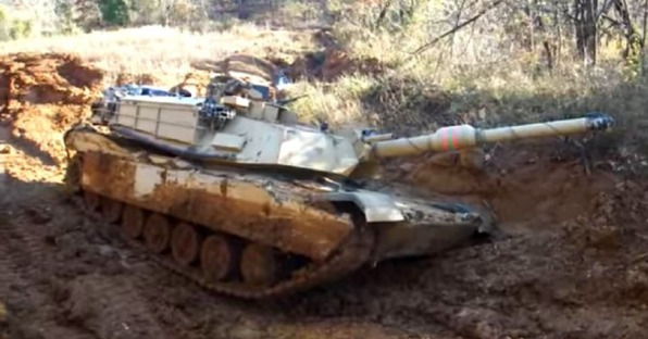 An U.S. Abrams tank... stuck in the mud - a metaphor for U.S. Middle East policy adrift with no anchor...